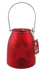 Deko-Glas mit LED-Licht 15 cm, rot