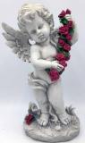 Engel mit Rosengirlande rot