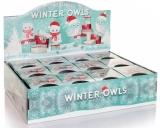 Kerze im Glas Winter Owls